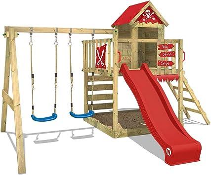 WICKEY Parque infantil de madera Smart Cave con columpio y tobogán rojo, Casa de juegos de jardín con arenero y escalera para niños: Amazon.es: Bricolaje y herramientas