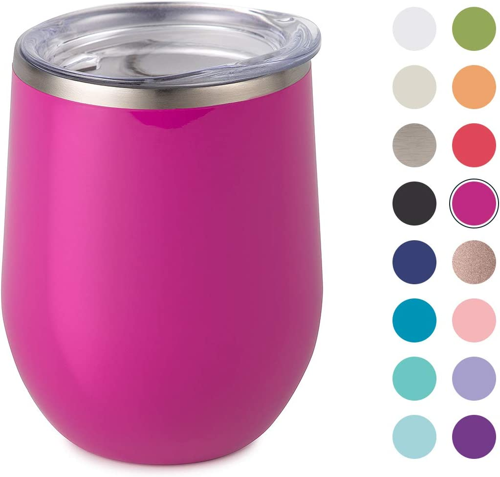Maars Bev Stainless Steel Stemless Wine Glass Tumbler with Lid, Vacuum Insulated 12 oz Cup | Spill Proof, Travel Friendly, Fun Cocktail Drinkware - Fuchsia