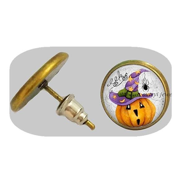 Amazon.com: Pumpkin Earrings Vintage Halloween Pumpkin Jewelry Glass Dome Earrings for Women Children Gift: Jewelry