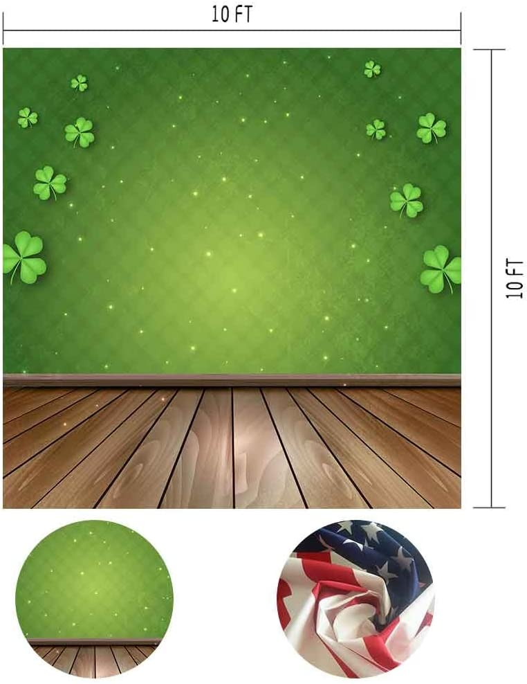 MME 10x10Ft Green Background Wood Floor Backdrop Clover Sample Family Classic Props Vinyl Photography GEME116