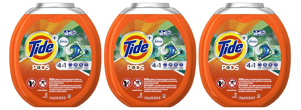 Tide PODS 4 in 1 HE Turbo Laundry Detergent Pacs, Botanical Rain Scent, 61 Count (3 Tubs)