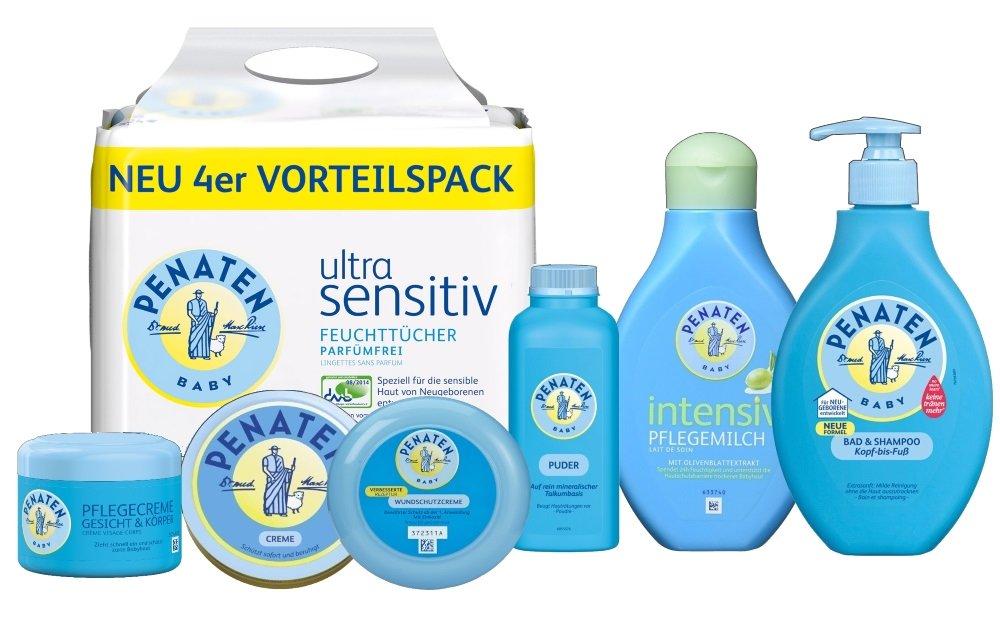Penaten conjunto de cuidado, que consiste en: Polvo de 100 ml, 150 ml, toallitas toallas ultra sensitiv 4x56, 400ml Loción Corporal, 200ml Wundschutzcreme, ...