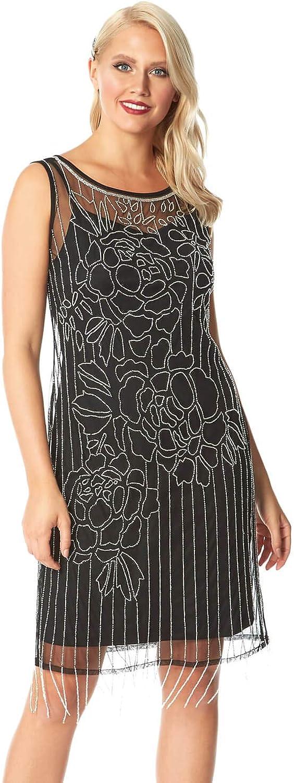 Roman Originals Vestido de mujer con adornos florales – Vestido de noche para mujer, fiesta de Navidad, Año Nuevo con cuentas de purpurina disfraz de los años 20 Gran Gatsby Art Deco formal de baile