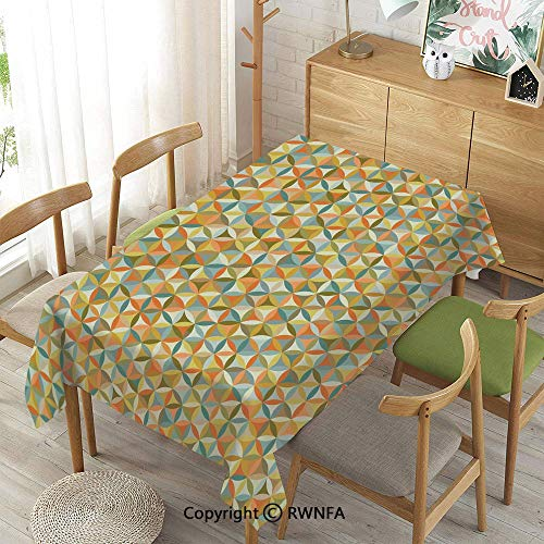 Homenon Tablecloth for Dining Room for Rectangle Tables,Circular Interlace Inner Rounds Oval Shaped Overlapping Vintage Forms Artsy Design,Indoor Outdoor Camping Picnic,Multicolor,55