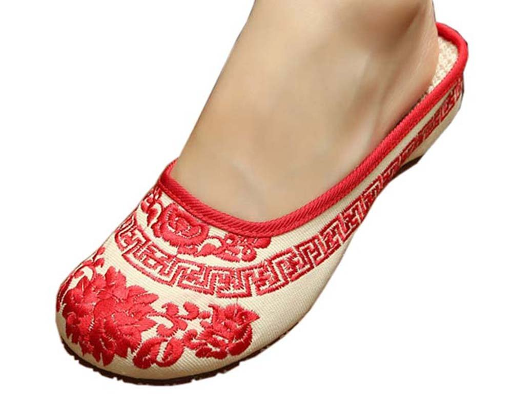 Womens Embroidered Summer Slippers Wedges Sandals Shoes for Cheongsam, 04