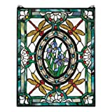 Stained Glass Panel - Dragonfly Floral Stained Glass Window Hangings - Window Treatments