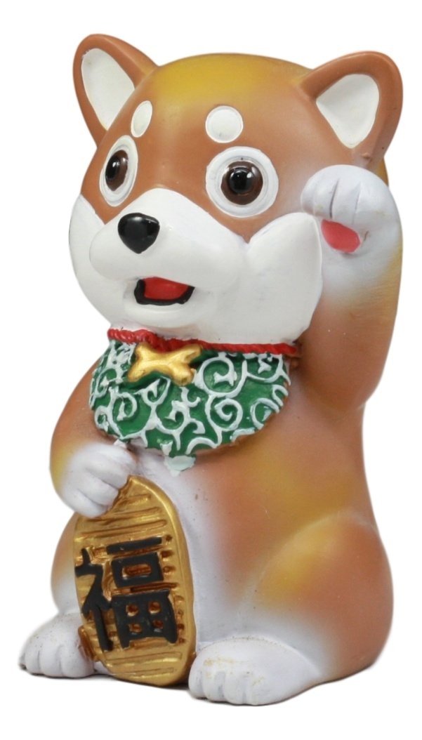 Ebros Maneki Shiba Inu Figurine Talisman Cute Japan Dog Small 4 Height Statue Year of The Dog Celebration