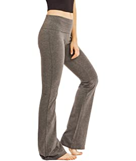 4951cffc87 HDE Women's Color Block Fold Over Waist Yoga Pants Flare Leg Workout ...