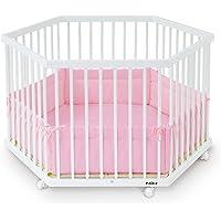 FabiMax 2311 Laufgitter 6-eckig, Buche, inklusive Laufgittereinlage Amelie, weiß lackiert/rosa