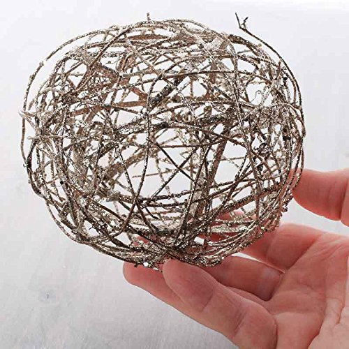 Package of 4 Platinum Sparkling Rattan Balls for Home Decor, Displaying and Designing by Factory Direct Craft