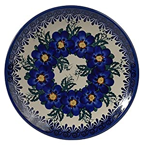 Traditional Polish Pottery, Handcrafted Ceramic Dessert Plate 19cm, Boleslawiec Style Pattern, T.102.Pansy