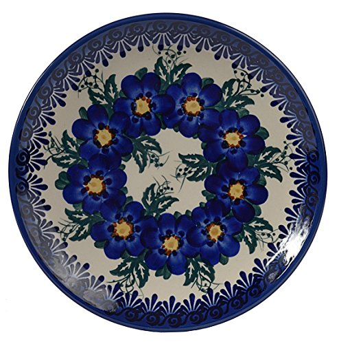 Traditional Polish Pottery, Handcrafted Ceramic Dessert Plate 19cm, Boleslawiec Style Pattern, T.102.Pansy