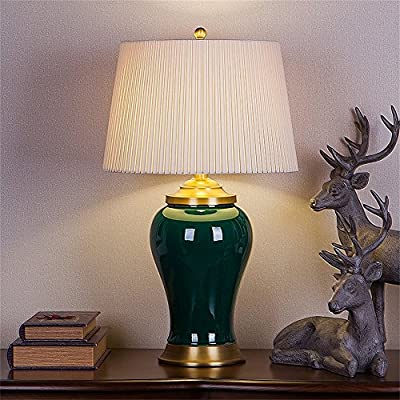 MILUCE Romantic Warm Chinese Ceramics Table Lamp Living Room Study Bedroom Bedside Table Lamp