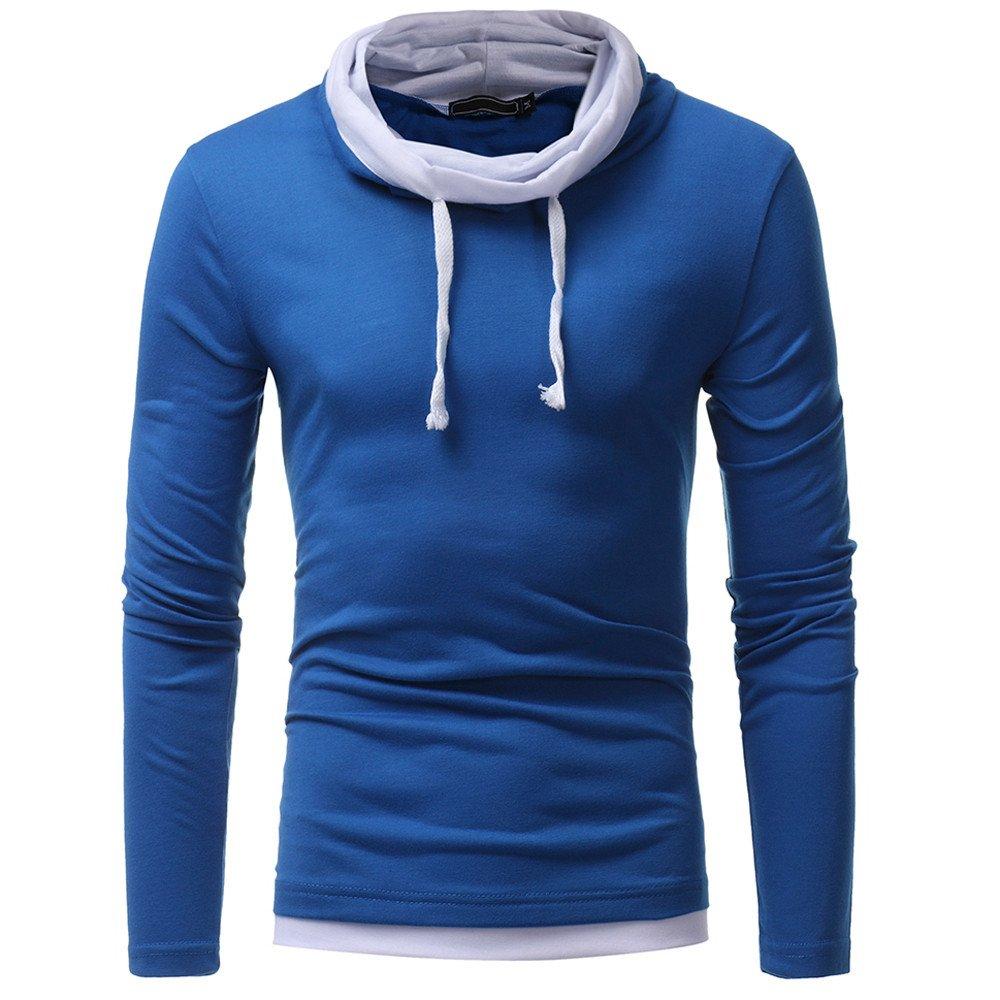 Yanhoo-Herbst Winter Herren Einfarbig mit Kapuzen Rollkragenpullover, Sport Modern Sweatshirt Langarmshirt Pullover