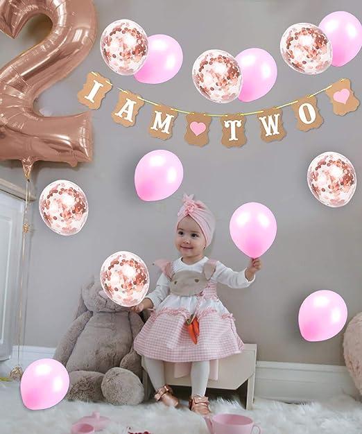 Amazon.com: Decoración de 2º cumpleaños para niña con dos ...