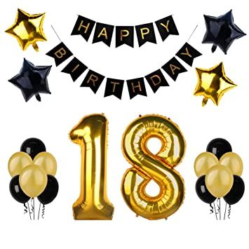 18th Birthday Party Decorations Kit Happy Banner Quot18quot Gold Number