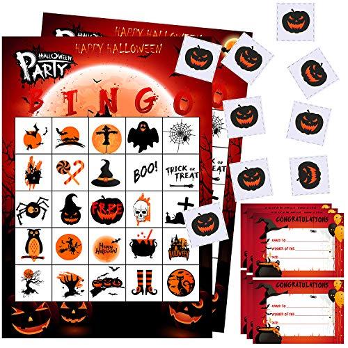 URATOT Halloween Bingo Games Cards Halloween Party Card Games for Halloween Party Supplies Kids Birthday Party Favors, 24 Players with Winner Certificate