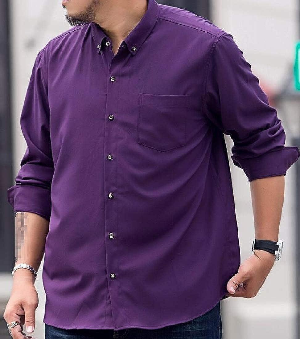 Etecredpow Men Office Button Down Lapel Long Sleeve Plus Size Casual Shirts