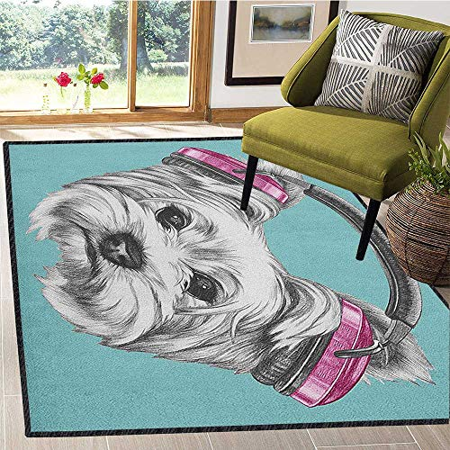Yorkie Unique Area Rug,Dog with Headphones Music Listening Yorkshire Terrier Hand Drawn Caricature Add Fashion to Room's Decor Pale Blue White 59