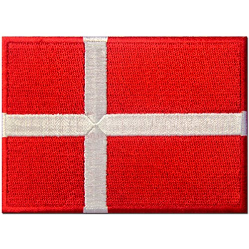 Danish Costumes (Denmark Flag Embroidered Patch Danish Iron On Sew On National)