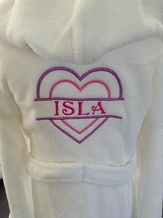 Girls white personalised fleece dressing gown split heart design ...