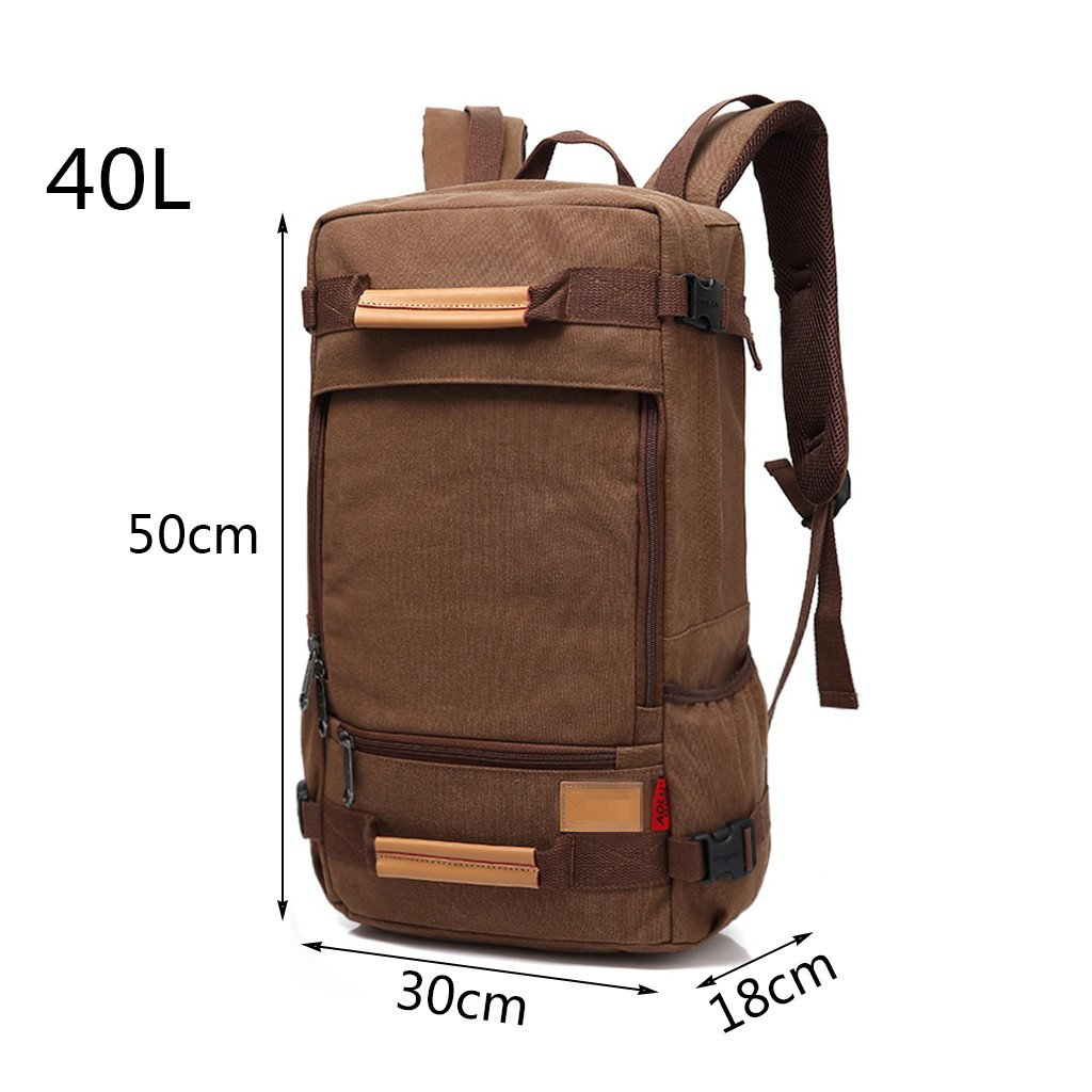 CozyHome AAA Travel and Leisure Backpack Canvas Light Large Capacity Backpack Camping Bag Khaki 40L
