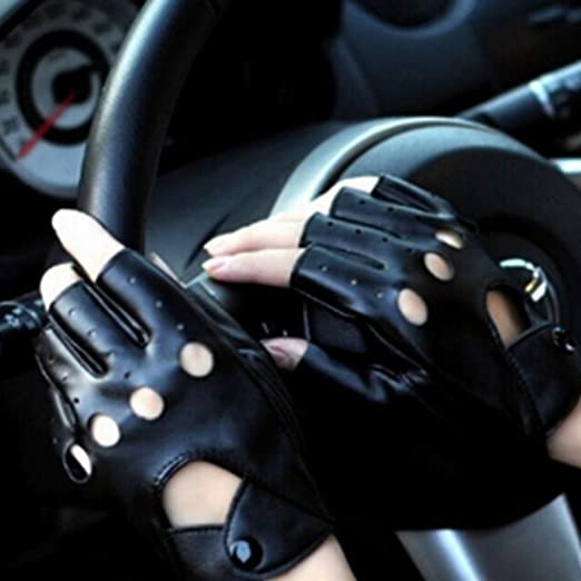YAMALL Paire de Mitaines en cuir Mitaines Fingerless En Cuir Noir   Amazon.fr  Vêtements et accessoires 11a201cf6f9