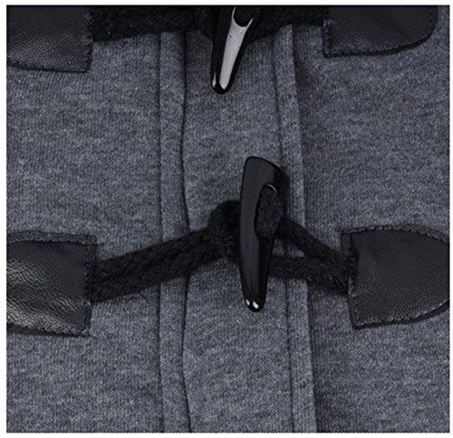 para Chaqueta Mujer de Larga con Talla de Mujer Manga Invierno Botones Outwear oscuro de gris con Abrigo YOGLY Capucha Grande de Abrigo Cuerno rTrqnx