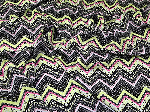 [ZigZag Chevron Print Microfibre Crepe Dress Fabric Pink & Lime - per metre] (Microfibre Dress)