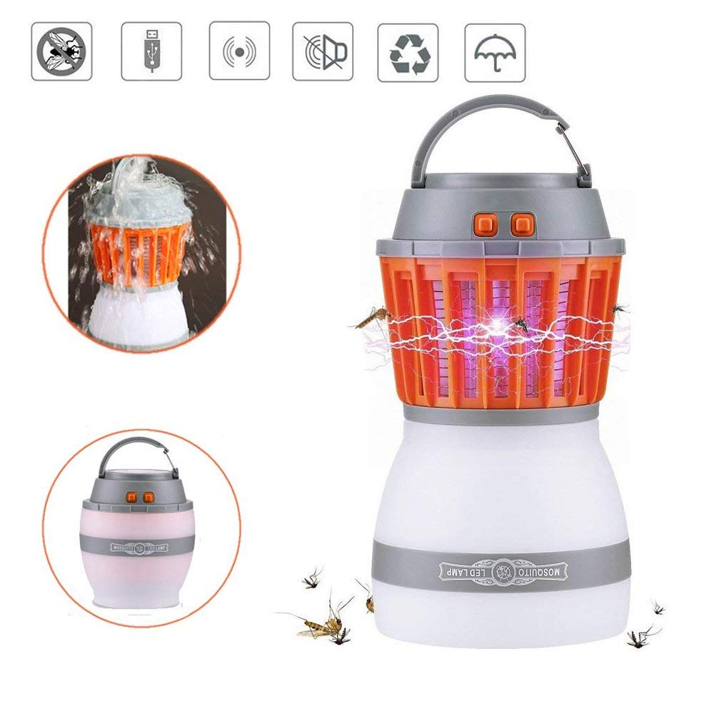 Simfonio Fly Zapper Deet Mosquito Repellent - Insect Repellent Bug Zapper - USB Rechargeable Camping Lantern & Electric Insect Killer Lamp 2-in-1 for Outdoor & Indoor Camping & Emergencies (Orange)
