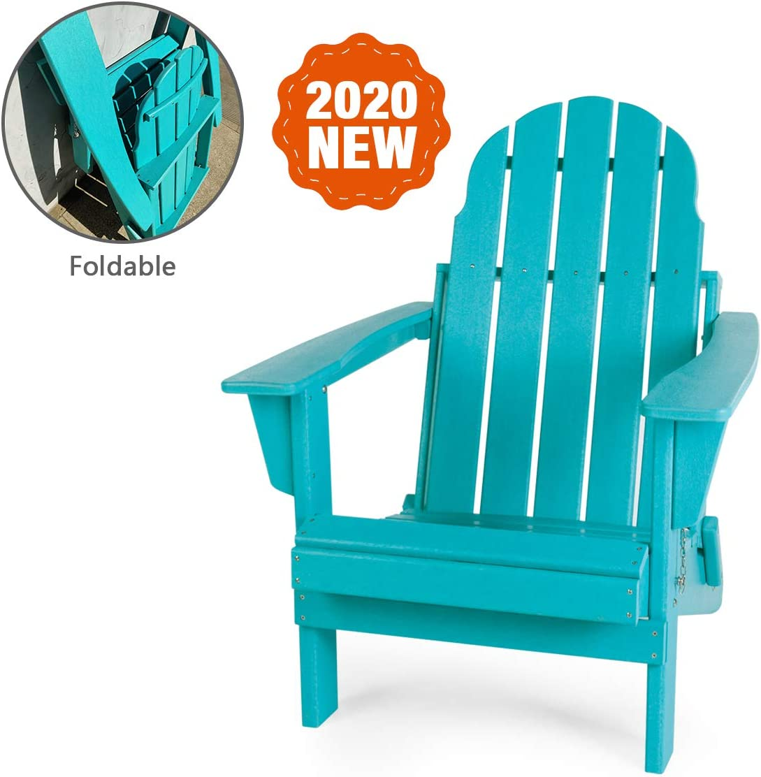 LAYRIAR HDPE Plastic Resin Foldable Outdoor Adirondack Chair for Patio Deck Garden, Backyard Lawn Furniture Aqua