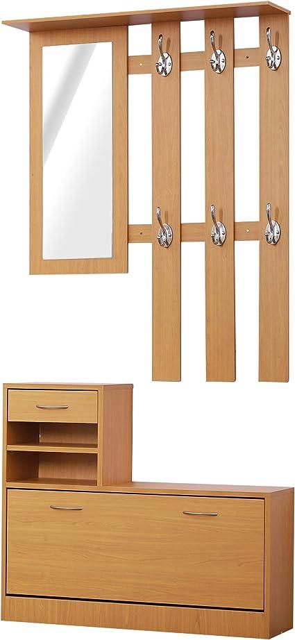Oferta amazon: HOMCOM Conjunto de Muebles de Entrada Recibidor Pasillo Set de 3 Piezas Perchero Espejo Zapatero con Cajón 90x22x116cm Madera Marrón