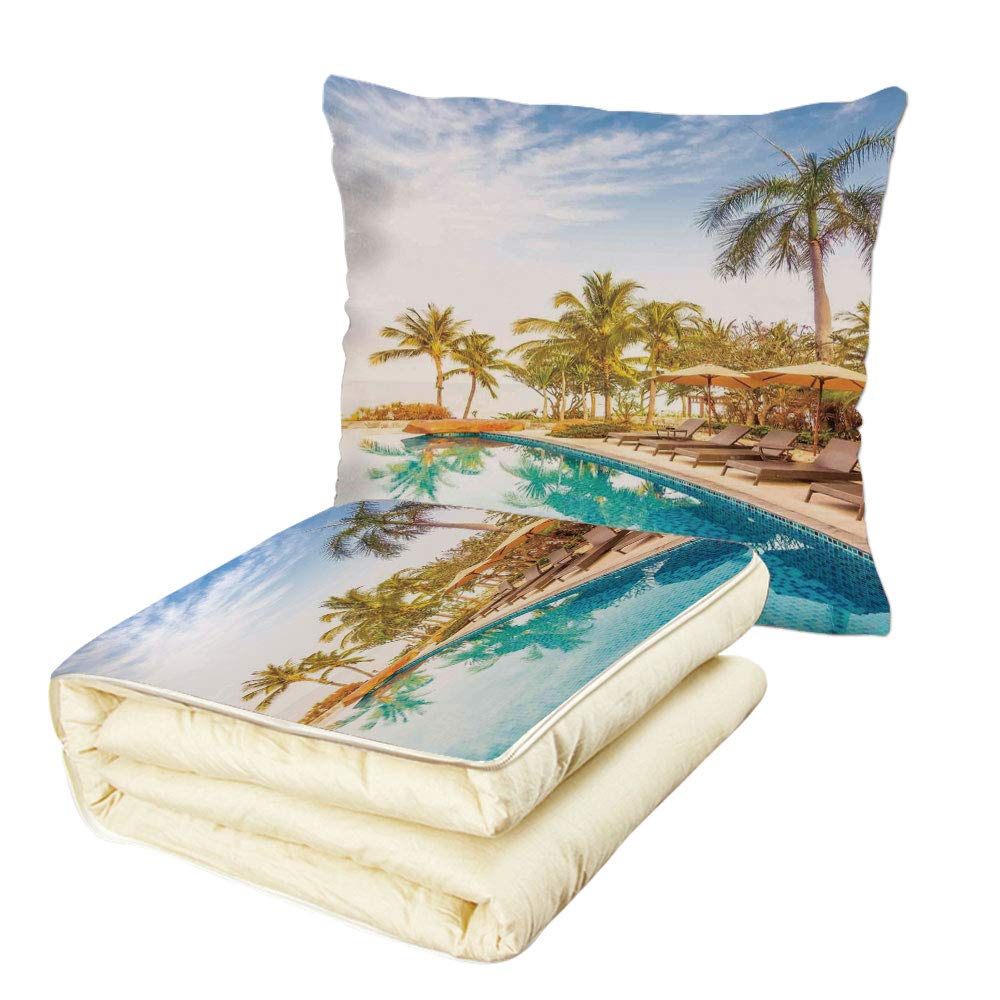Quilt Dual-Use Pillow House Decor Aerial View of A Pool in A Health Resort Spa Hotel with Exotic Elements Sports Modern Photo Multifunctional Air-Conditioning Quilt Multi