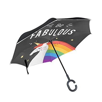 Upside Down Umbrellas with C-Shaped Handle for Women and Men Reverse Inverted Windproof Landscape Bear Umbrella Double Layer Inside Out Folding Umbrella