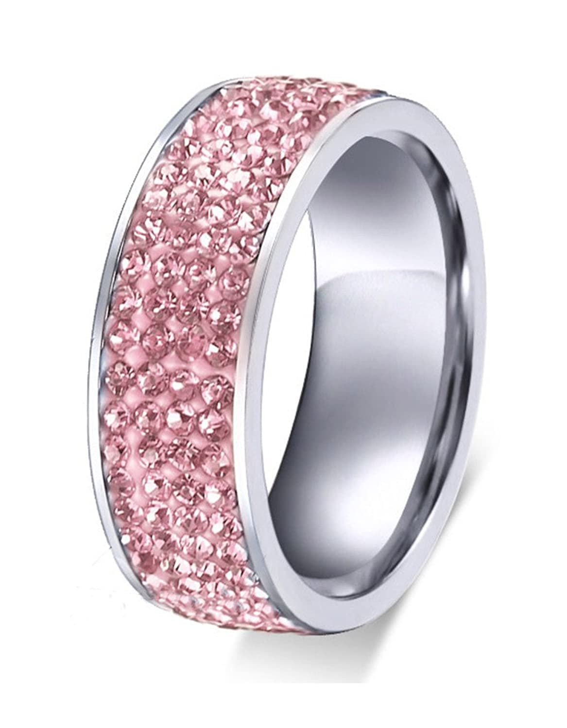 Amazon.com: Stainless Steel Pink CZ Crystal Cubic Zirconia Eternity ...