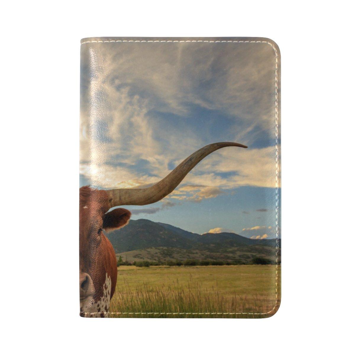 La Random Texas Longhorn Steer Passport Holder Cover Leather Travel Passport Wallet Case