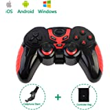 PinPle Bluetooth Game Controller Wireless Rechargeable Gamepad with Clip - Support Android / iOS / Windows - for iPhone / iPad / Smartphone / Tablet / PC / TV Box (Red)