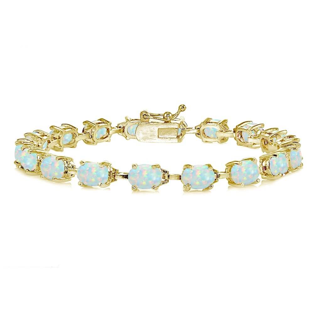 Yellow Gold Flashed Sterling Silver Simulated White Opal 7x5mm Oval Classic Link Tennis Bracelet