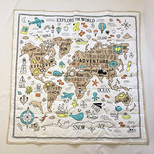 World Map Explorer |Kids Extra Large Organic Playmat/Play Mat for Baby Infant or Toddler