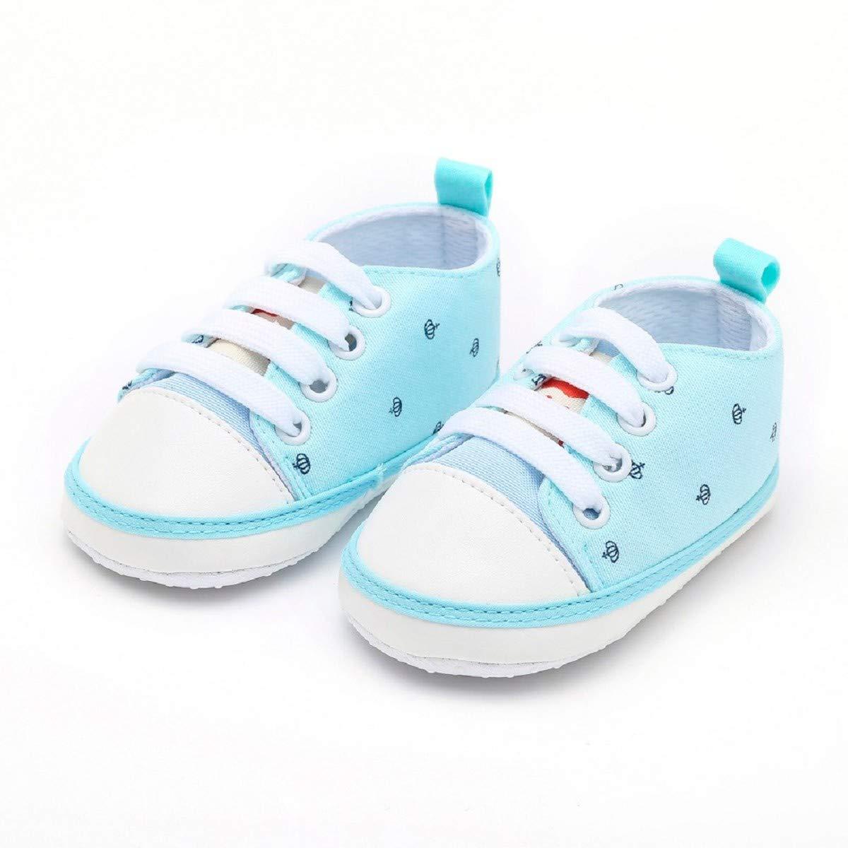 Newborn Shoes FAPIZI Toddler Baby Girls Boys Print Cute Soft Sole Casual Flats Bandage Canvas Shoes Blue