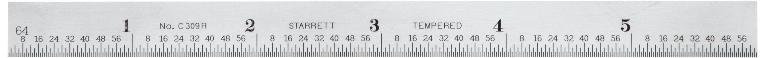 Starrett C309R-6 Full Flexible Steel Rule With Inch Graduations, 9R Graduations, 6'' Length, 1/2'' Width, 1/64'' Thickness