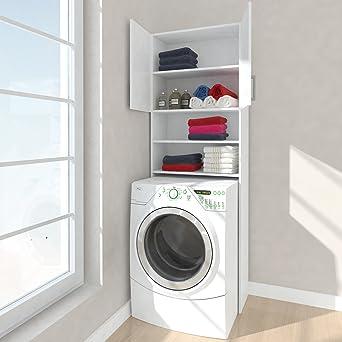 Respekta Hochschrank Waschmaschine Umbauschrank Bad Schrank Regal Weiss 64  Cm
