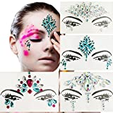 Leoars 4 Sets Temporary Face Tattoos Festival Eye Face Jewels Crystal Sticker Festival Mermaid Rhinestones Rave Face Jewel Tattoo Body Glitter