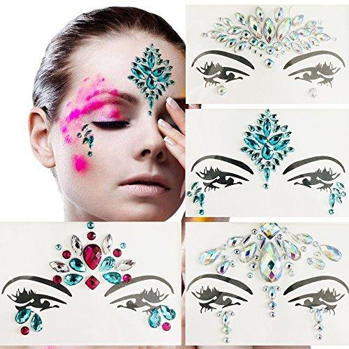Leoars 4 Sets Temporary Face Tattoos Festival Eye Face Jewels Crystal Sticker Festival Mermaid Rhinestones Rave Face Jewel Tattoo Body Glitter by Leoars