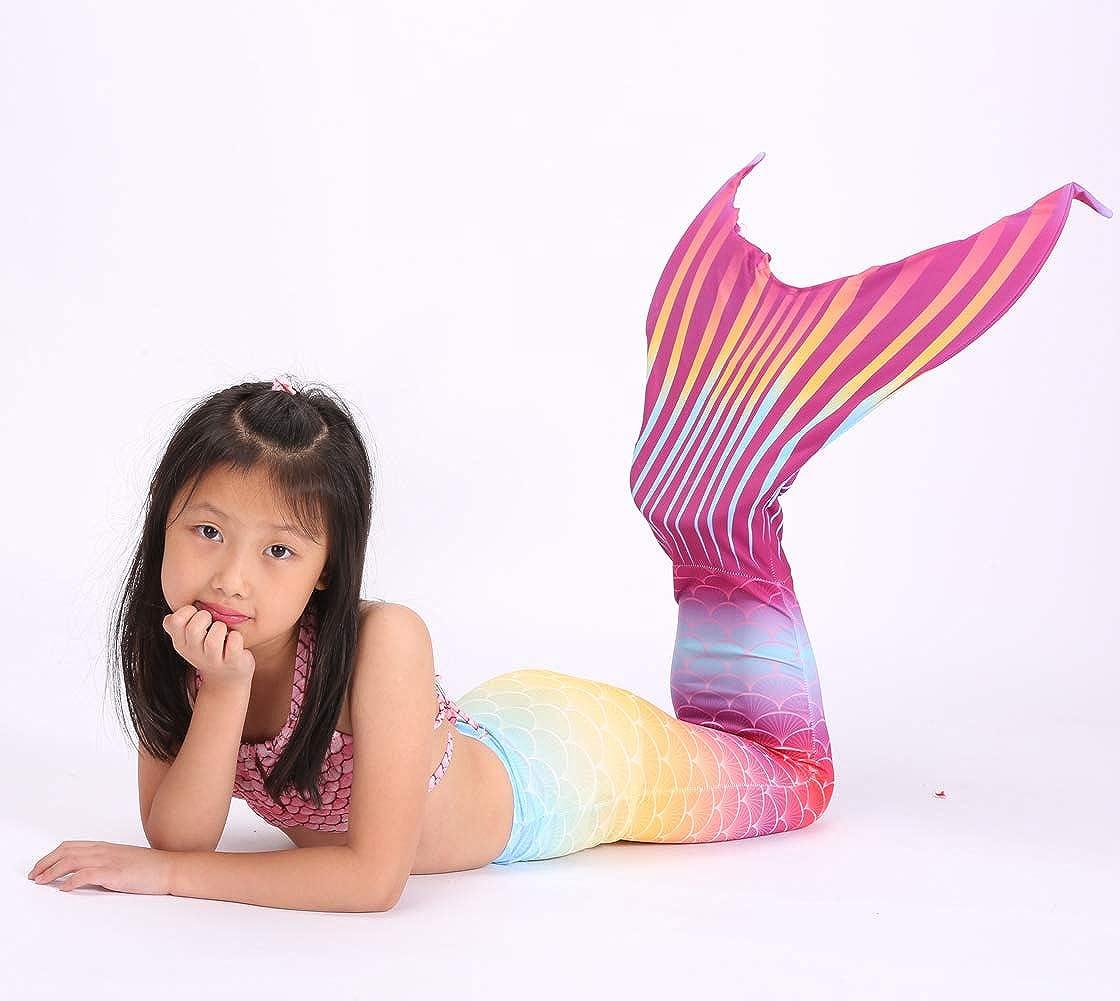 Blumen-Haarband 3-teiliges Set Schwanzflosse Xyfushi Kinder M/ädchen Meerjungfrauenschwanz Schwimmen