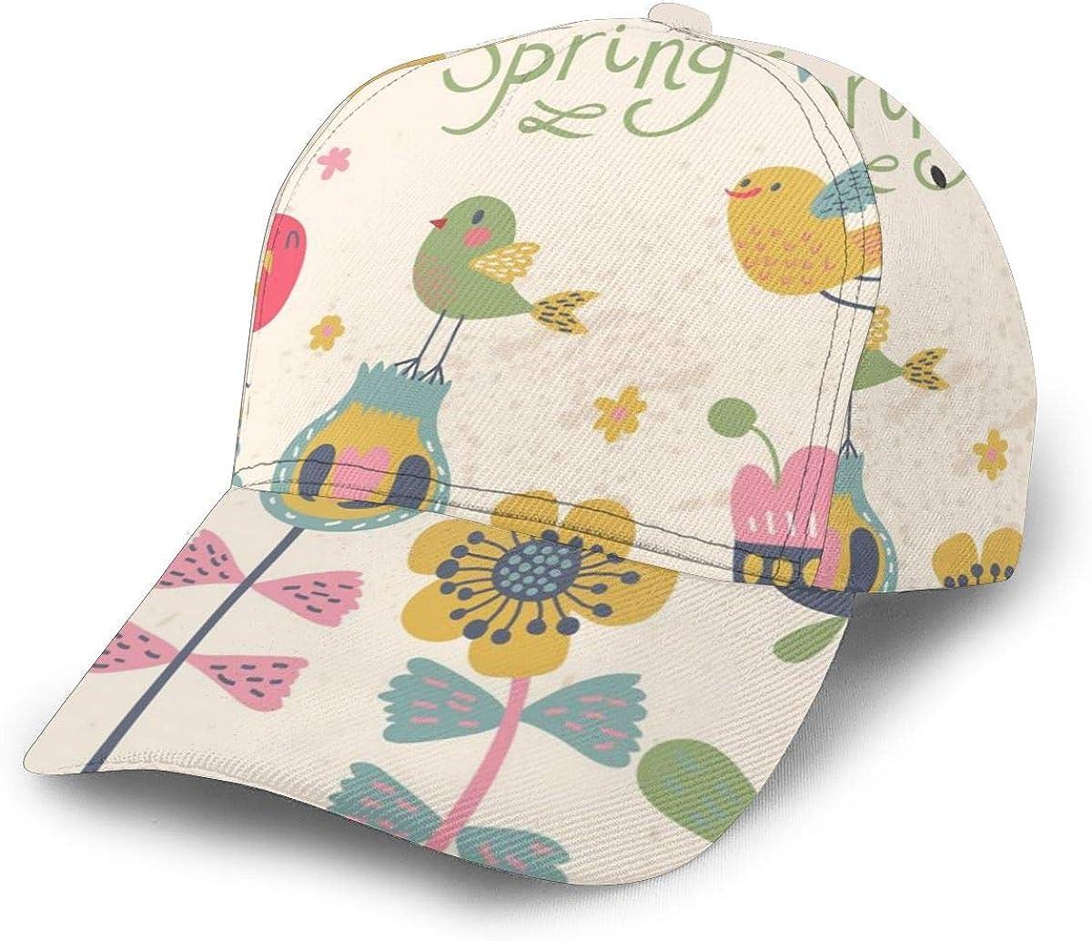 Spring Cute Cartoon Birds On Flowers Boy Washed Denim Cotton Baseball Cap Sport Outdoor Adjustable Hats