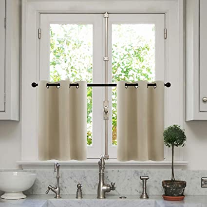 MRTREES Beige Curtains 45 Inches Long Room Darkening Short Kitchen Tiers Curtain Panels Bathroom Drapes Bedroom Grommet Top 2 Panels Living Room