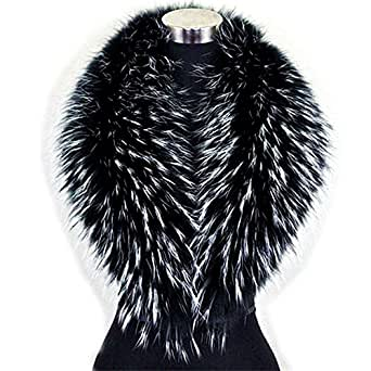 Large Real Raccoon Fur Winter Collar Scarves Scarf Wrap Neck Warmer for Coat (110cm) at Amazon
