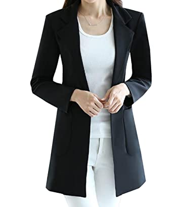 Fseason Women Elegent One Button Work Office Extra Long Suit Jacket