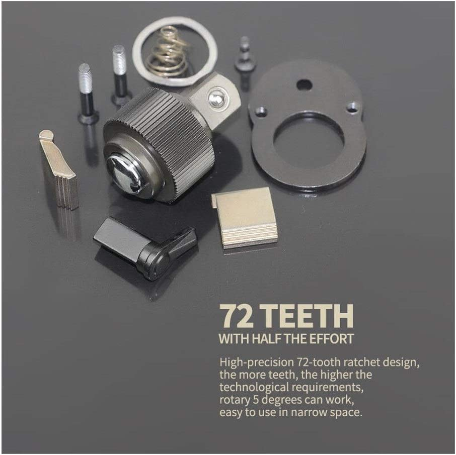 XINGJIJIJIA Surfaces 72 Teeth Ratchet Socket Wrench with Zinc Alloy Tail 1Pcs 1/4